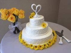 Yellow Butter with  Strawberry Filling #Wedding #Cake www.teatimeinc.com