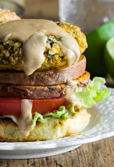 8 Favourite Vegan Lunch & Dinner Recipes of 2013 — Oh She Glows Thai Sweet Potato Burgers with Spicy Peanut Sauce Whole Food Recipes, Dinner Recipes, Cooking Recipes, Lunch Recipes, Fall Recipes, Sweet Potato Veggie Burger, Vegan Lunches, Vegan Meals, Vegan Main Course