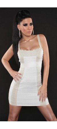 White mini-dress trimmed with lurex