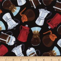 Timeless Treasures Coffee Pot Toss Black from @fabricdotcom  Designed by George McCartney for Timeless Treasures, this cotton print is perfect for quilting, apparel and home decor accents.  Colors include black, white, grey, red, orange, tan and brown.