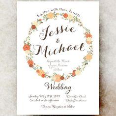 Wedding Invitation Shabby chic white  - Printable Invitation, wedding invite, wreath wedding invitation  DIY