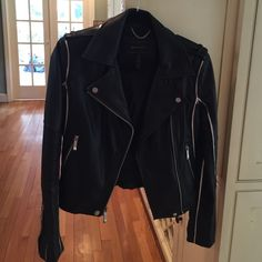 NWOT SZ XS BCBGMAXAZRIA  Faux leather moto jacket Never worn. Size XS. Feel free to ask questions.❌❌I AM MOVING - CLOSET CLEAN OUT❌❌  Only selling for limited period before giving to local consignment shop.  Very good condition with only minor scuffing. Feel free to ask questions.   No trades. Reasonable offers only. BCBGMaxAzria Jackets & Coats