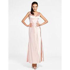 Sheath/Column V-neck Ankle-length Stretch Satin Bridesmaid Dress  – USD $ 67.99  #00249013  like back