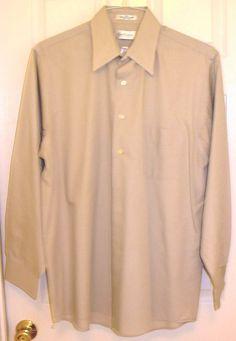 Van Heusen Beige L/S Dress Shirt Men's Size Large 16 34/35 #VanHeusen