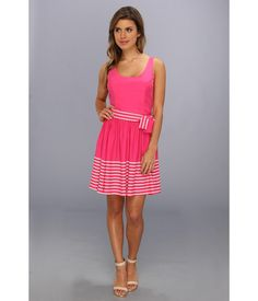 Silk, fit-and-flare dress features Princess seams throughout. . Sleeveless, scoop neck design. . Pl...