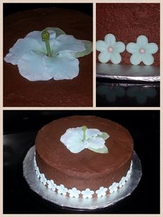 Peanut Butter Cake with Chocolate Buttercream and Fondant Flowers