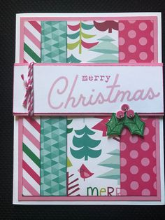 Bold & Bright is the theme for Color Dare & what better paper pack to use than OH WHAT FUN! Pattern from MIFYH stamps from Christmas Countdown & Raspberry twine & bitty sparkles to finish it off! Winter Cards, Holiday Cards, Christmas Cards, Holiday Decor, Christmas Countdown, Close To My Heart, Dares, Bold Colors, Challenge Cards