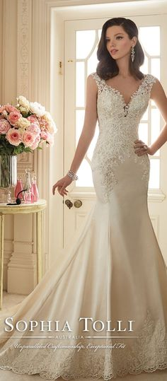 sophia tolli Paris satin fit and flare wedding gown with lace slight cap sleeves spring 2016 Y11629