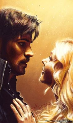 Colin O'Donoghue -Killian Jones - Captain Hook -Jennifer Morrison - Emma Swan on Once Upon A Time Captain Swan, Sea Captain, Captain Hook, Bellarke, Delena, Malec, Ouat, Once Upon A Time, Swan Painting