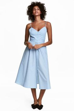 Robe en coton - Bleu clair/pois - FEMME | H&M FR