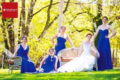 Strike a pose, bridal party formals, blue dresses, blue and green ...
