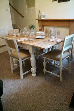 Painted Farmhouse Table And 4 Chairs Upholstered In Natural Hessian