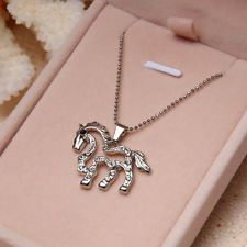 New Silver Beautiful Unicorn Horse pendant women Necklace Gift free shipping