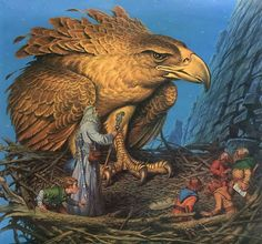 Bilbo the Hobbit and the Eagle