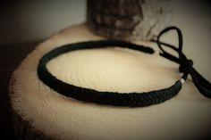 Bracelet ou Collier ras le cou,minimaliste, noir,Tressage en coton + corde suède Choker Necklaces, Chokers, Bracelets, Leather, Etsy, Jewelry, Fashion, Short Necklace, Minimalist