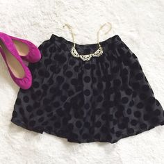 """NWT >> MINKPINK Formerly Known As Waisted Skirt Sheer gets a velvet update in the MinkPink Formerly Known as Waisted Skirt. With velvet dots, this high waisted skirt works equally well day or night. Pair it with your favorite blouse or dress it town with a simple tee. Labeled as size S, but the waist is 12"""" (no stretch), so this might be best for size 0/XXS. Length is 17"""". NWT – never worn because I think butter is a carb Please ask any and all questions. Thanks for looking! MINKPINK Skirts"""
