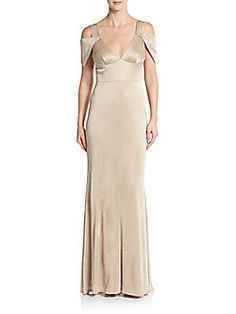a734df066cb Triangle-Sleeve Metallic Gown Adrianna Papell