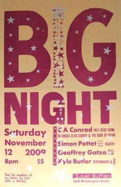 Big NIght Letterpress poster for Just Buffalo Literary Center - Nov 2009