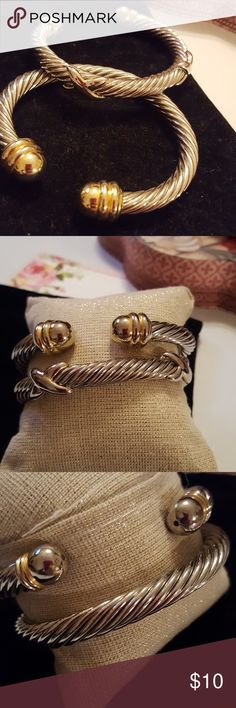 SET OF 2 CABLE BRACELETS USED Set of 2 cable bracelets good used condition little discoloration on the end balls thats why priced to sell Jewelry Bracelets