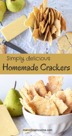 Homemade crackers are simply delicious, easy and so inexpensive to make. These Homemade Crackers with pecorino cheese and black pepper are so moreish you won't be able to stop at one! Homemade Crackers, Homemade Cheese, Savoury Biscuits, Galletas Cookies, Salty Snacks, Appetizer Recipes, Appetizers, Cooking Recipes, Cooking Tips
