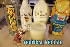 Tropical Freeze (Donkey Kong Country: Tropical Freeze cocktail) Ingredients:.75 oz 99 Bananas, .75 oz Malibu Rum with Coconut, .75 oz RumChata, 4 oz Pineapple Juice, Ice