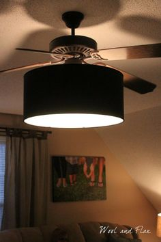 Diy ceiling fan makeover drum shade tutorial shows how to attach ceiling fan make over just add drum shade aloadofball Gallery