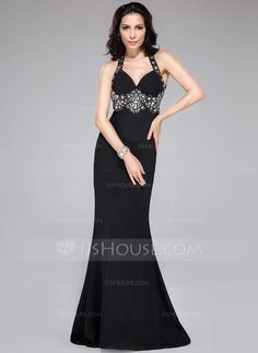 Trumpet/Mermaid Sweetheart Sweep Train Chiffon Prom Dress With Ruffle Beading (017041159) - JJsHouse