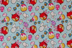 SALE 25% OFF Angry Birds & Easter Bunny with Colored Eggs - 100 Percent High Quality Cotton Fabric - $2.24 USD