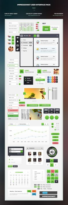 Impressionist User Interface Pack by Vladimir Kudinov, via Behance