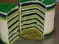 Seahawk cake....could do for the Sounders! (A bright blue instead, of course.)