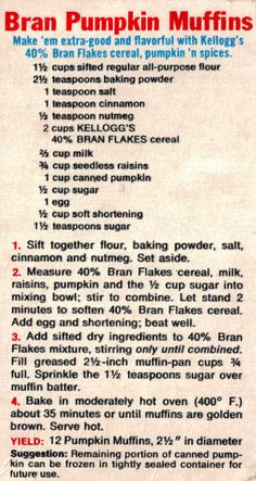 Kellogg's Bran Pumpkin Muffins Recipe (pumpkin dessert no butter) All Bran Muffins, Muffins Blueberry, Baking Muffins, Almond Muffins, Breakfast Muffins, Breakfast Recipes, Pumpkin Muffin Recipes, Pumpkin Spice Muffins, Gourmet