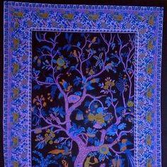 Tree of Life Tapestry Throw Tablecloth Spread Twin Black Purple 70x104 (Twin), Black-Purple (Cotton)
