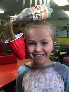 Crazy Hair day pop bottle spill pony tail