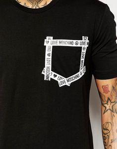 Image 3 of Love Moschino T-Shirt With Taping Pocket Shirt Print Design, Tee Shirt Designs, Tee Design, Cheer Shirts, Cut Shirts, Blusas T Shirts, Look Man, Inspiration Mode, T Shirt Yarn