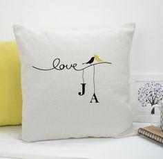 personalised love bird cushion by tilliemint loves | notonthehighstreet.com