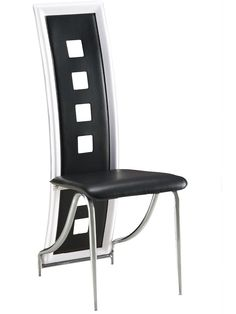 "Global D803-BL Side Chair - Black chair with metal legs and PU leather upholstery. Dimensions: L17"" x D17"" x H44""."
