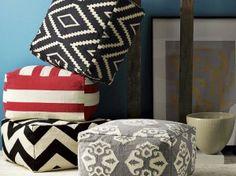 DIY Floor poufs with $3 Ikea Mats