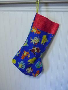 Pokemon Christmas Stocking by naptimepillowsnmore on Etsy