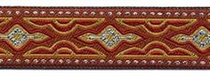 """Absolutley stunning 1"""" Cashmere Curry Scarlet & Silver sewing trim.  There is also a matching 7/16"""" narrow trim (which also comes in contrasting Black, Red, Grey & Curry as well)"""