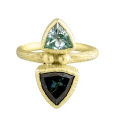 Maria Frantzi: Blue Topaz Doublet 18ct Yellow Gold Ring