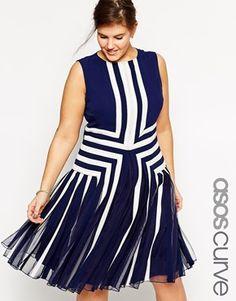 ASOS CURVE Premium Placed Nautical Mesh Insert Dress