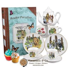 Our large scale heirloom quality children's tea service features the original W.W. Denslow illustrations from the classic L. Frank Baum story.    A true scale, functional size tea set for kids and adults alike, each porcelain piece is hand-embellished in real gold.    Tea service for 2 is food & dishwasher safe and includes two 6″ plates, two 3 oz tea cups/saucers, 14 oz tea pot, sugar & creamer.    Set arrives neatly packed in our sturdy, custom keepsake 'storybook' box for safe storage…