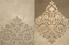 like split background Damask Stencil, Stencil Patterns, Stencil Designs, Painting Patterns, Painting Templates, Stencil Painting, Sgraffito, Wall Paint Inspiration, Wallpaper Decor