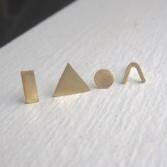 Mismatched small brass or Sterling silver stud earrings, geometeric studs, - pierced ear .925 sterling silver posts