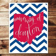 University of Dayton Print by evannicoledesigns on Etsy, $15.00