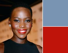 Beauty - At the London premiere of 12 Years A Slave, makeup artist Kay Montano gave actress Lupita Nyong'o a shimmering blue eye and an orange red lip—one of our favorite looks. Kiss Makeup, Hair Makeup, Maquillage Black, Mascara, Eyeliner, Spot Light, Eye Makeup Tips, Black Girls Rock, All About Eyes