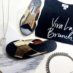 Mirror Metallic Leather Slides Details: • Size 9.5 • Leather • Slip on style • Track sole • Small mark on the side of one strap, not noticeable when being worn (see last photo) • Brand new in box Vince Camuto Shoes Sandals