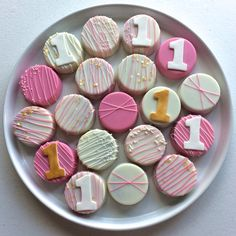First Birthday {Pink & Gold} Chocolate Covered Oreos by MilkandHoneyCakery on Etsy https://www.etsy.com/listing/240167493/first-birthday-pink-gold-chocolate