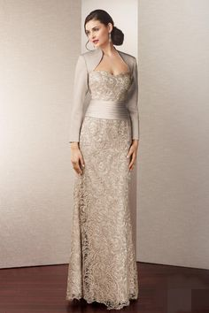 The Royal Style satin long sleeve lace gown mother of the bride lace dresses Summer dress 2014