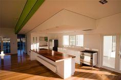 Narrow kitchen with island
